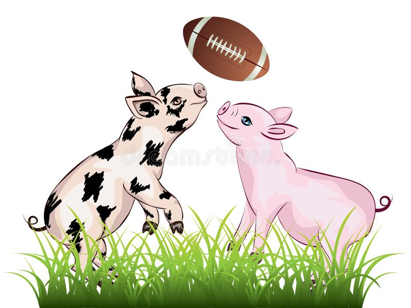 Il porcellino gioca il rugby illustrazione vettoriale