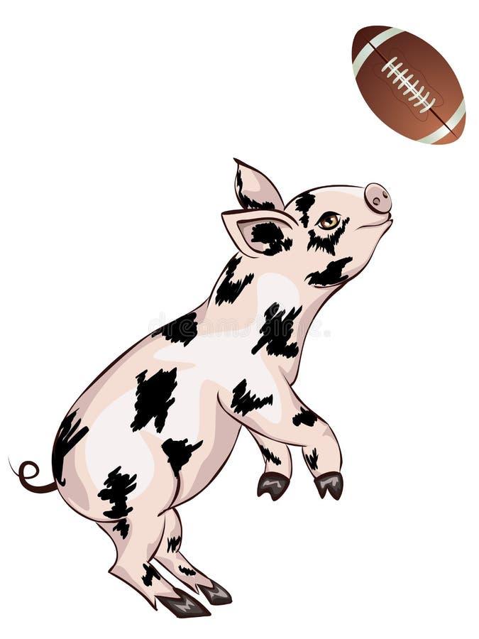Il porcellino gioca il rugby illustrazione di stock