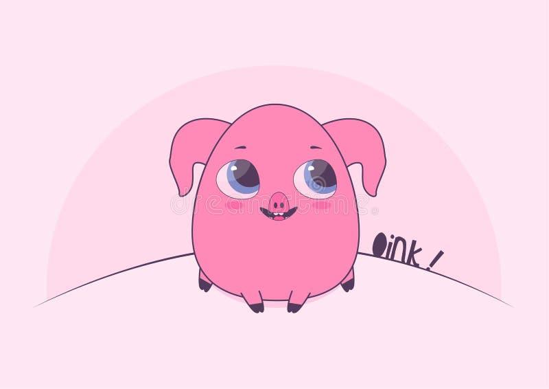 Il porcellino rosa sveglio si siede i grugniti ed i sorrisi royalty illustrazione gratis