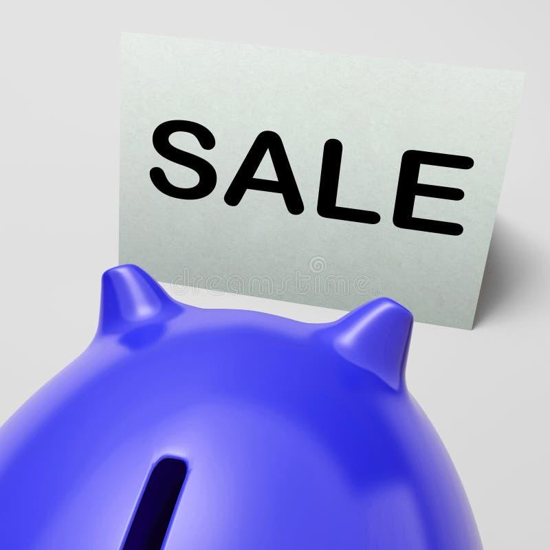 Il porcellino salvadanaio di vendita significa il promo o lo spazio di affare royalty illustrazione gratis