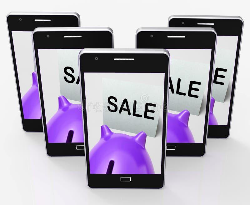 Il porcellino salvadanaio di vendita significa il promo o lo spazio di affare illustrazione vettoriale