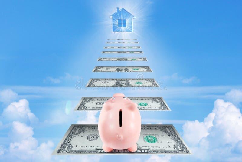 Il porcellino salvadanaio grazioso che scala le scale per ricchezza e successo va a immagini stock