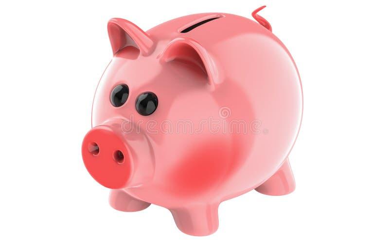 Il porcellino salvadanaio rosa del maiale isolato su fondo bianco, 3d rende illustrazione di stock