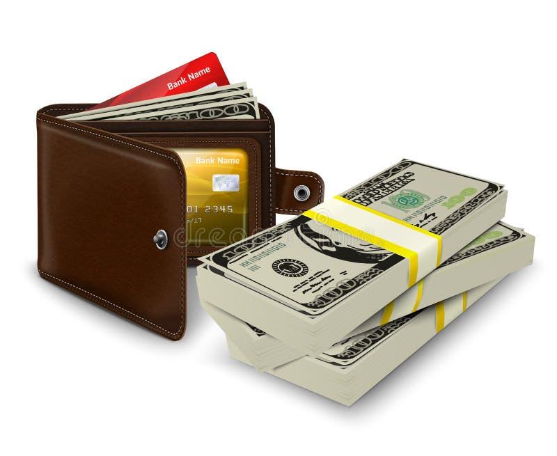 Il portafoglio di cuoio con la carta di credito e la banca rotolano illustrazione vettoriale