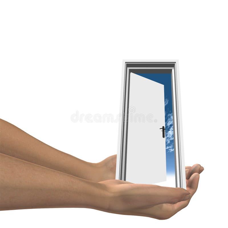 Il portello bianco di alta risoluzione ha tenuto in mani fotografia stock