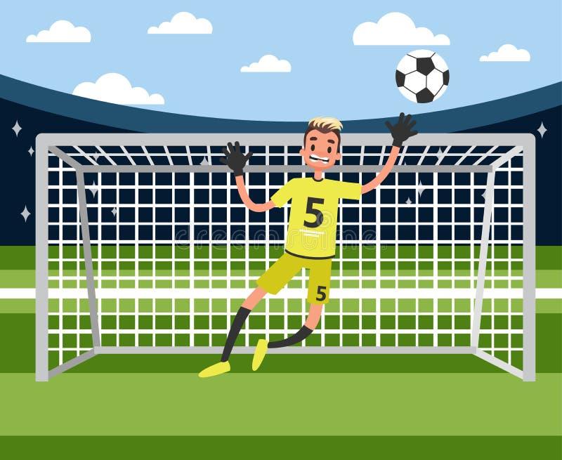 Il portiere che salta per prendere la palla Calcio o giocatore di football americano illustrazione vettoriale