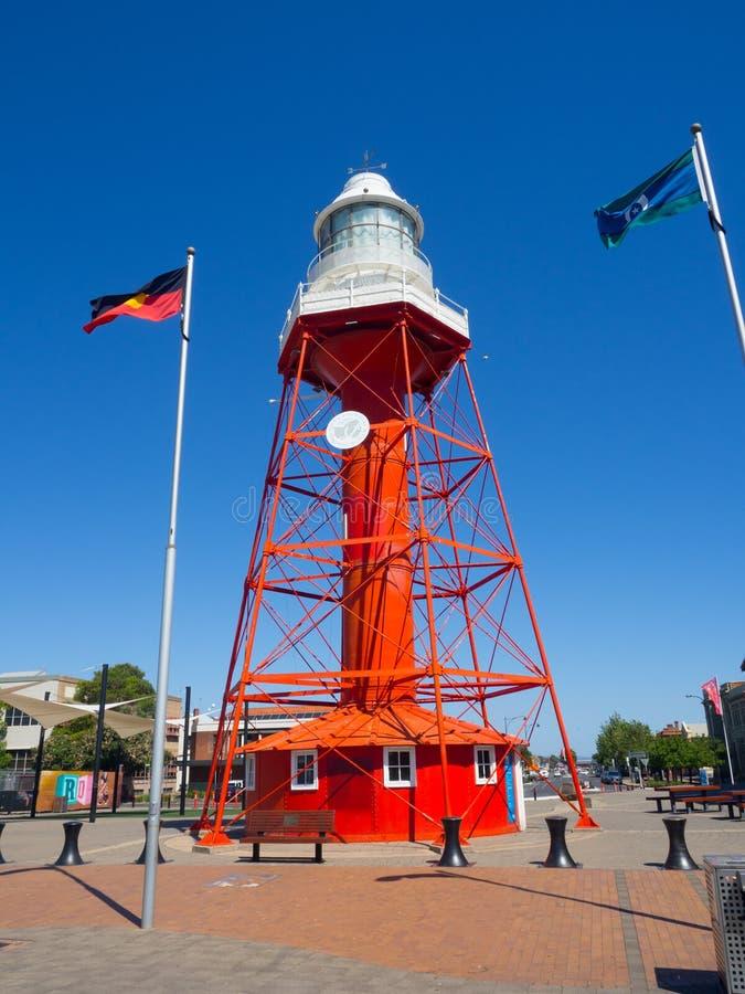 Il porto Adelaide Lighthouse è un punto di riferimento situato sulla parata del nord di porto Adelaide In primo luogo è stato acc fotografia stock