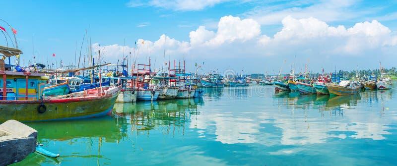 Il porto con le sciabiche di pesca fotografie stock libere da diritti