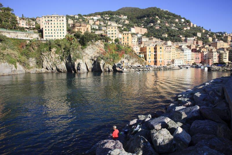 Il porto di Camogli nel paesino di pescatori di Camogli, golfo di Paradise, parco nazionale di Portofino, Genova, Liguria, Italia fotografia stock