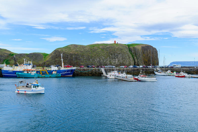 Il porto di pesca, in Stykkisholmur immagine stock