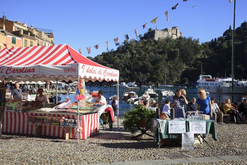 Il porto di Portofino, Genova, Liguria, Italia immagine stock libera da diritti