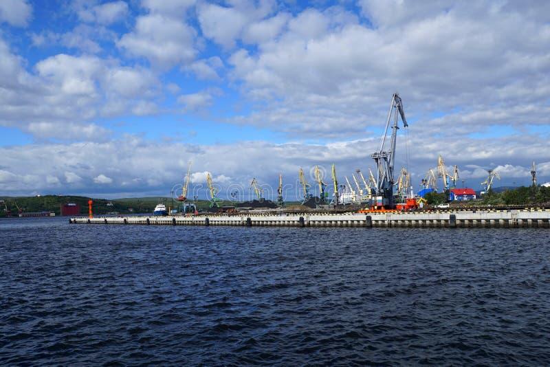 Il porto marittimo cranes il carbone di caricamento per l'esportazione immagini stock libere da diritti