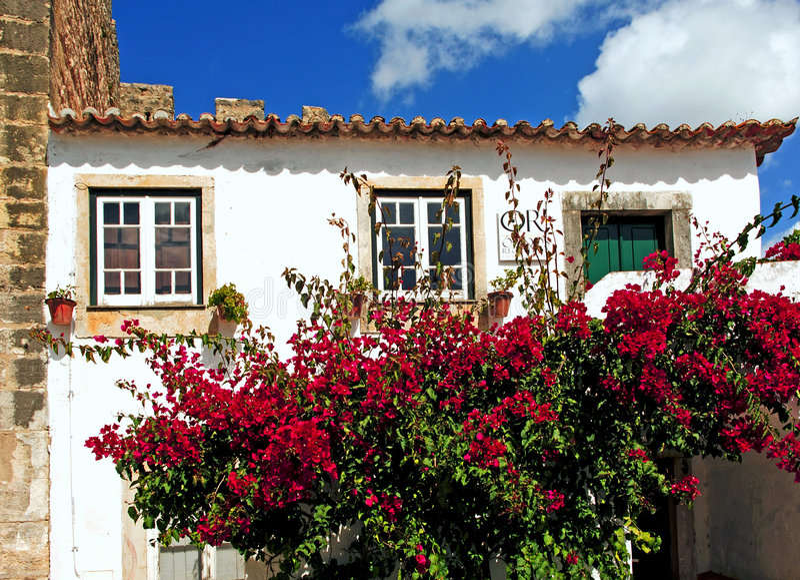 Il Portogallo Obidos; una città medioevale fotografie stock