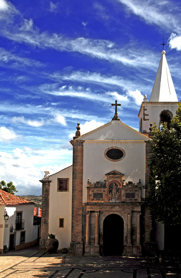 Il Portogallo Obidos; una città medioevale immagini stock libere da diritti