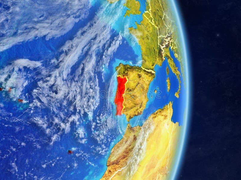 Il Portogallo sul pianeta Terra del pianeta con i confini del paese Superficie e nuvole estremamente dettagliate del pianeta illu illustrazione di stock