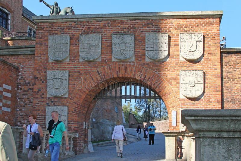 Il portone del bollo del castello di Wawel, Cracovia, Polonia fotografia stock libera da diritti