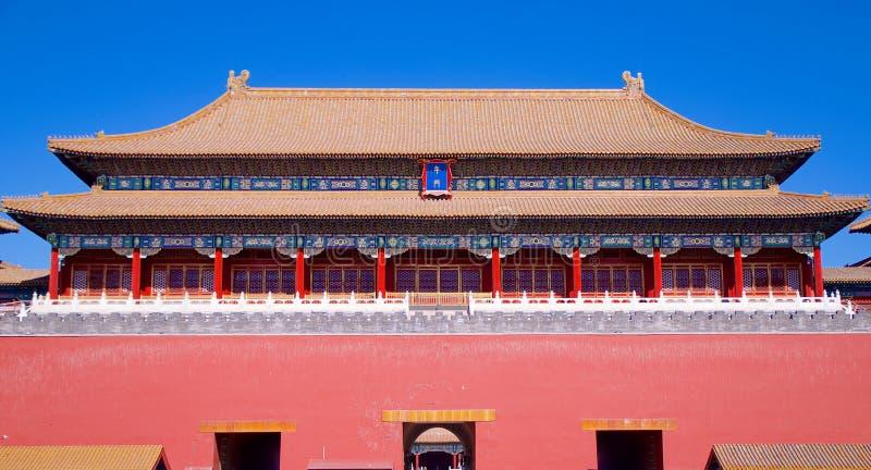 Il portone dritto che conduce dalla piazza Tiananmen nella Città proibita a Pechino, Cina fotografie stock
