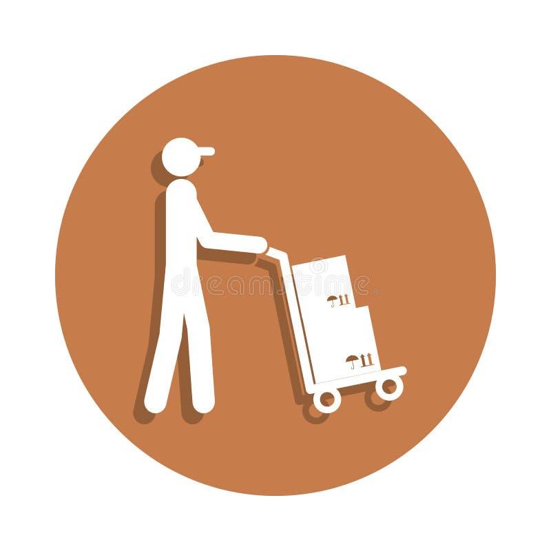 il postino con l'icona del carretto nello stile del distintivo Uno dell'icona logistica della raccolta può essere usato per UI, U illustrazione vettoriale