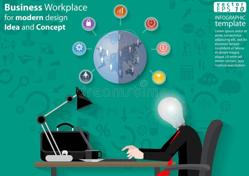 Il posto di lavoro di affari per l'idea di progettazione moderna ed il concetto Vector il modello di Infographic dell'illustrazio illustrazione di stock