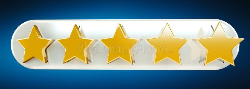 Il posto digitale dell'oro cinque stars la rappresentazione 3D illustrazione vettoriale