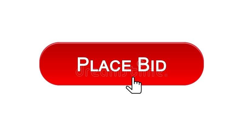 Il posto ha offerto il bottone dell'interfaccia di web cliccato con il cursore del topo, colore rosso, finanza illustrazione di stock