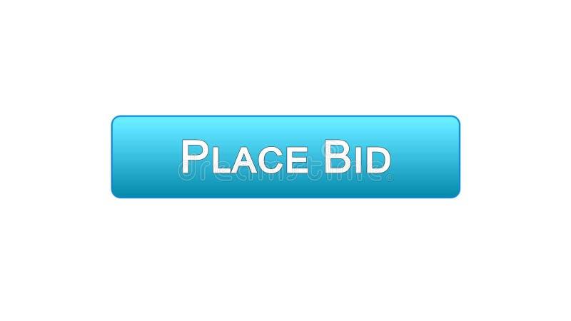 Il posto ha offerto il colore blu del bottone dell'interfaccia di web, finanzia l'applicazione online, scommessa illustrazione di stock