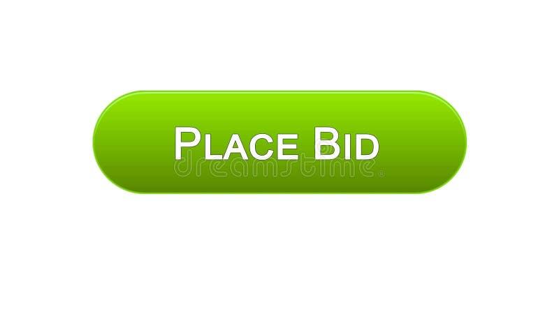 Il posto ha offerto il colore verde del bottone dell'interfaccia di web, finanzia l'applicazione online, scommessa illustrazione di stock