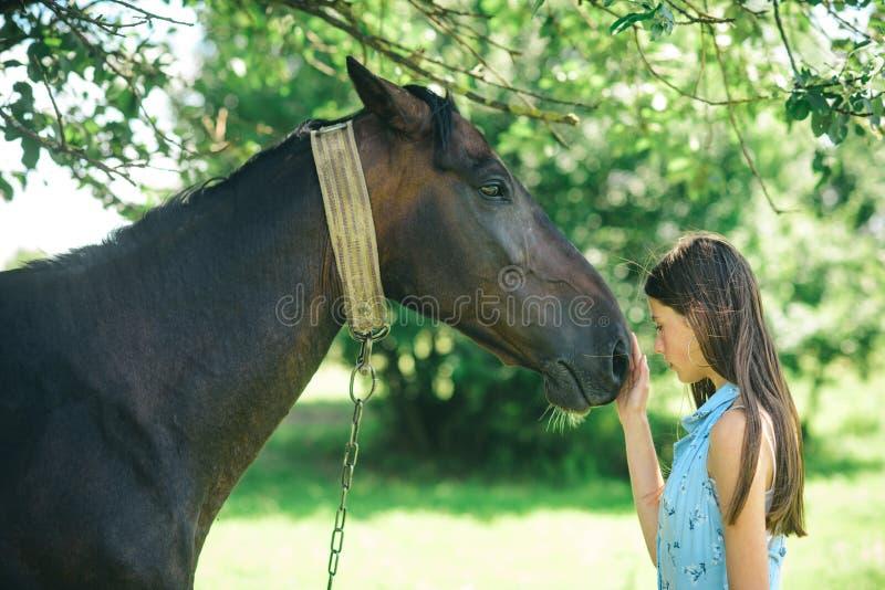 Il potere di fiducia e dell'empatia Giovane donna con il cavallo sul paesaggio di estate Ragazza graziosa al ranch del cavallo Ca fotografia stock
