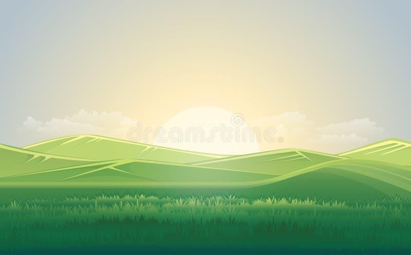 Il prato e la montagna verdi dell'estate abbelliscono con il tramonto Illustrazione di vettore illustrazione di stock