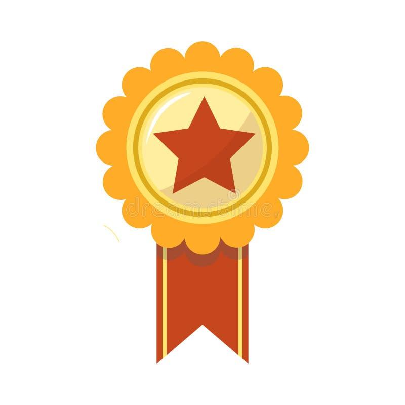 Il premio del nastro della stella dorata per il vettore premiato di campionato di sport ha isolato l'icona illustrazione vettoriale