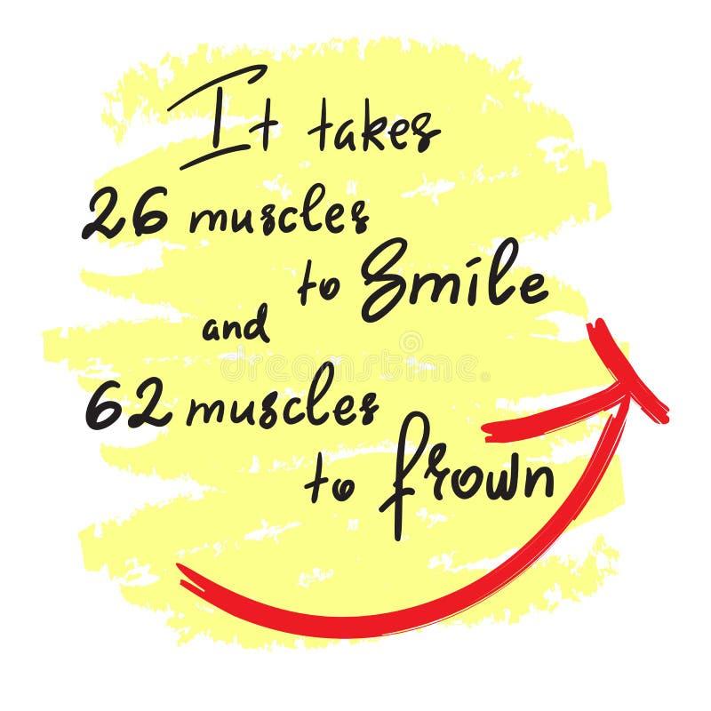 Il prend 26 muscles au sourire, et 62 muscles au froncement de sourcils - citation de motivation drôle manuscrite Copie pour l'af illustration de vecteur