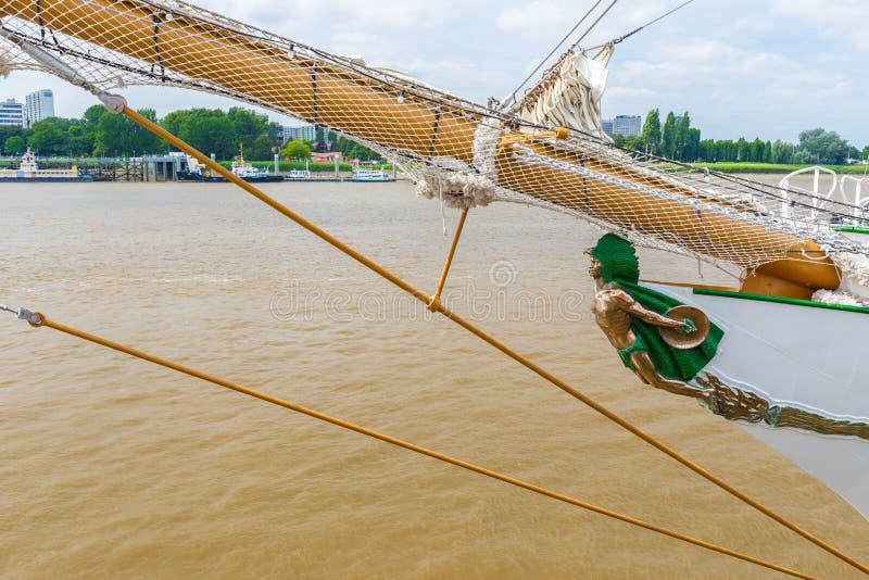 Il prestanome della nave di navigazione messicana Cuauhtemoc visto a Anversa durante le navi alte corre l'evento 2016 fotografia stock libera da diritti