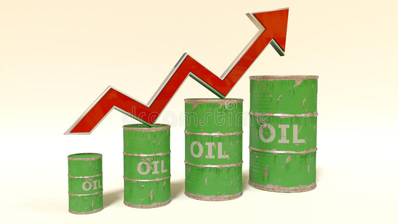Il prezzo di olio che aumenta su illustrazione vettoriale