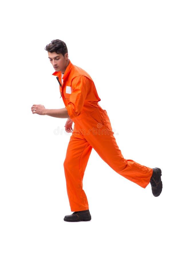 Il prigioniero in abito arancio isolato su fondo bianco immagini stock