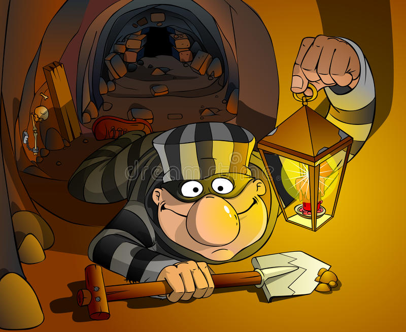 Il prigioniero fuoriesce dalla prigione royalty illustrazione gratis