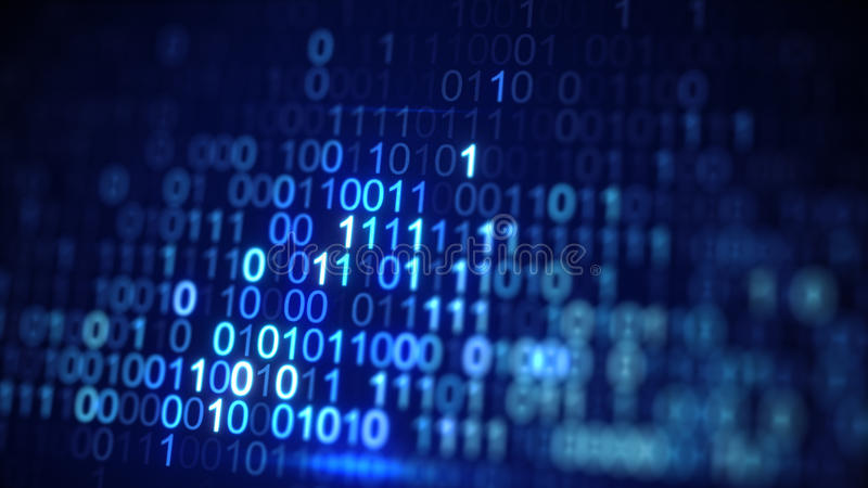 Il primo piano blu di codice di dati binari di Digital ha sparato con DOF illustrazione vettoriale