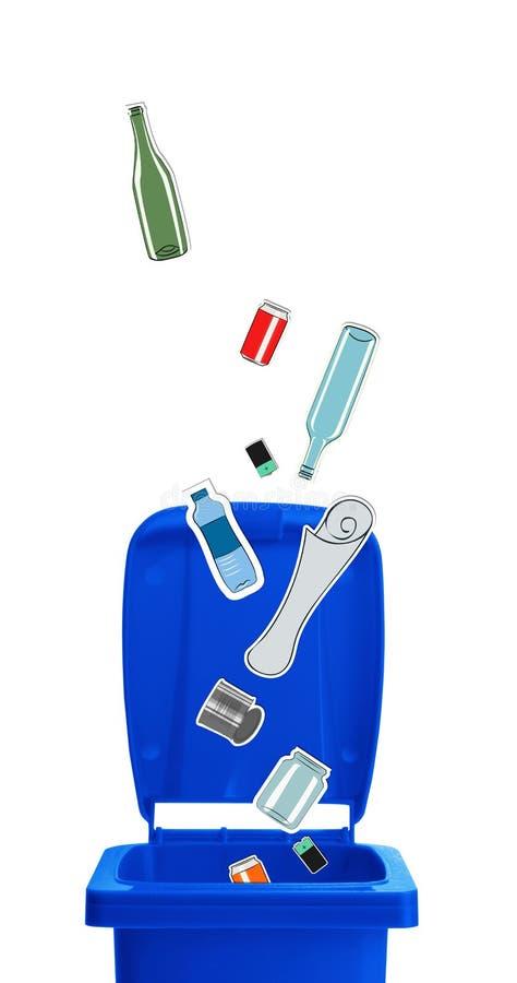 Il primo piano del blu ricicla il recipiente illustrazione di stock