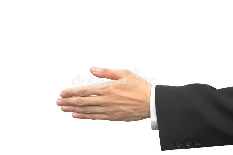 Il primo piano del maschio tailandese di affari scuote congiuntamente il gesto immagine stock