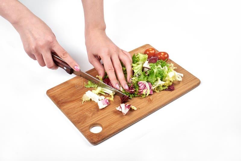 Il primo piano del ` s del cuoco della donna passa l'affettatura l'insalata e delle verdure su un bordo di legno, su fondo bianco fotografie stock libere da diritti