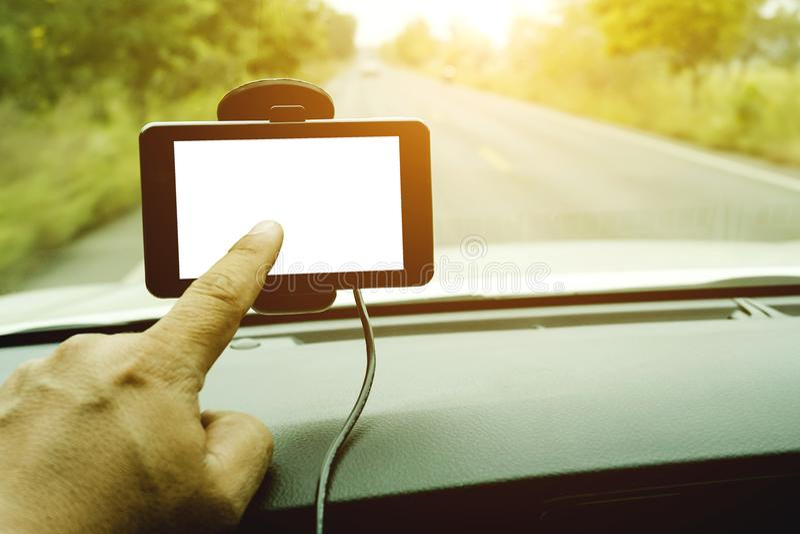 Il primo piano del sistema di navigazione dell'automobile dei gps l'automobile è stato installato nella t fotografia stock