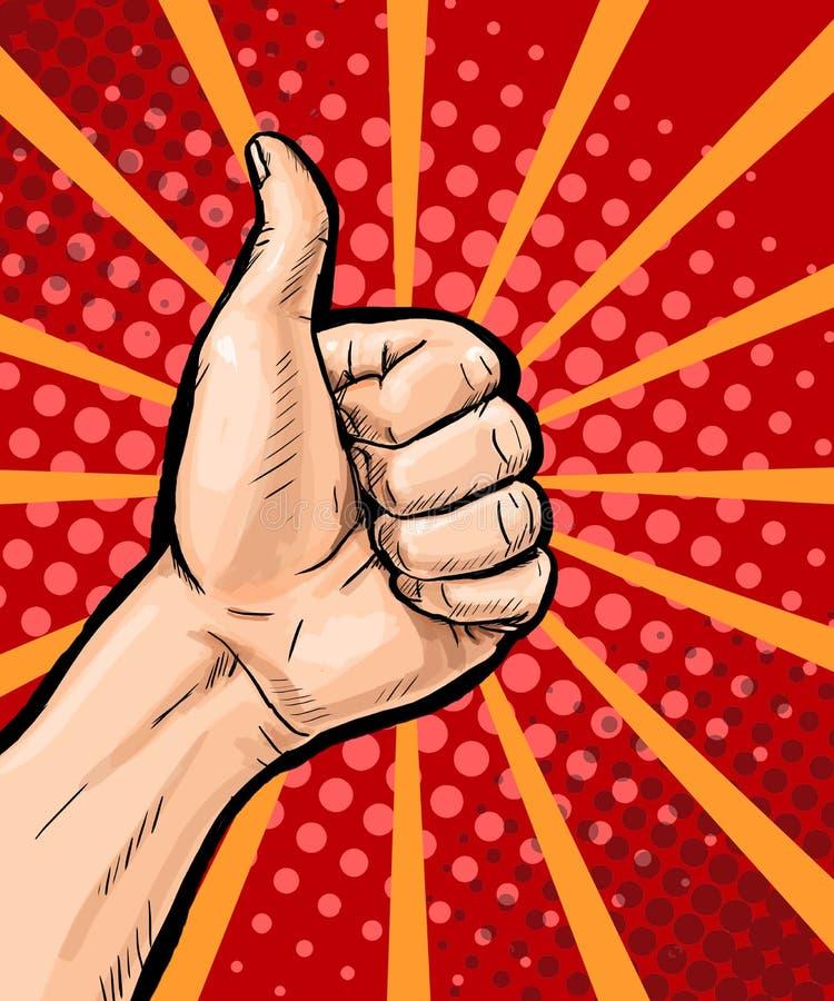 Il primo piano della mano maschio che mostra i pollici aumenta il segno sul fondo di Pop art Manifesto di Pop art Fondo di Pop ar illustrazione vettoriale