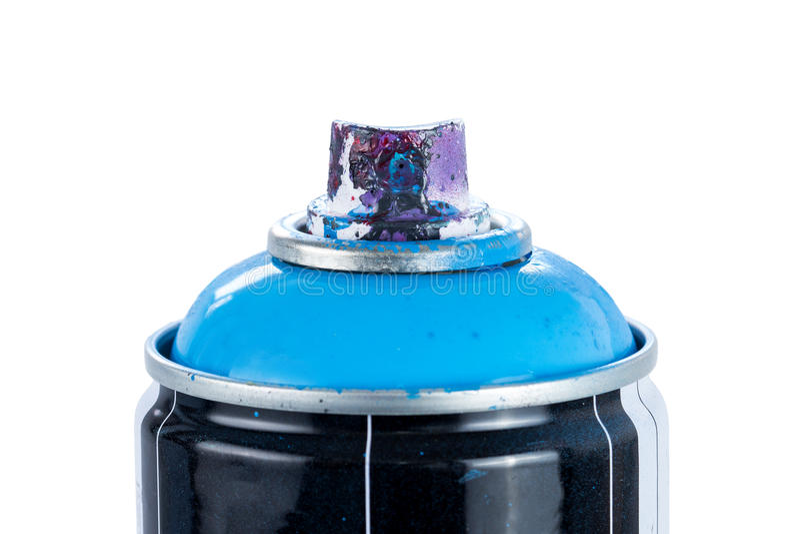 Il primo piano di una pittura di spruzzo può con l'ugello painty fotografia stock