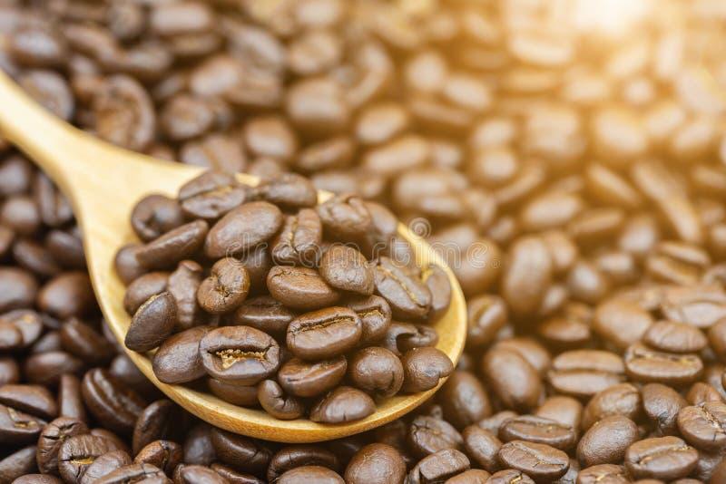 Il primo piano ha arrostito i chicchi di caffè marroni sul cucchiaio di legno con il fondo di luce solare per alimento e progetta fotografie stock
