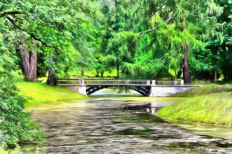 Il primo ponte del metallo sul continente europeo royalty illustrazione gratis