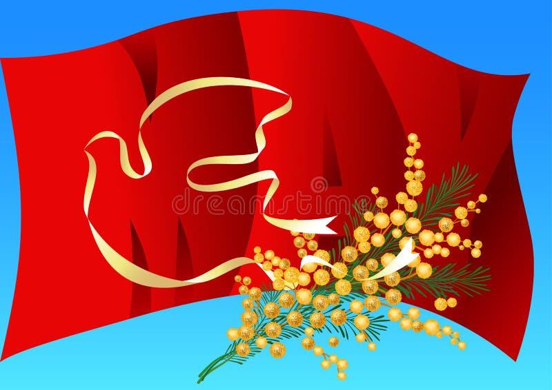 il primo può illustrazione di vettore di festa del lavoro Bann di bianco della colomba della siluetta royalty illustrazione gratis