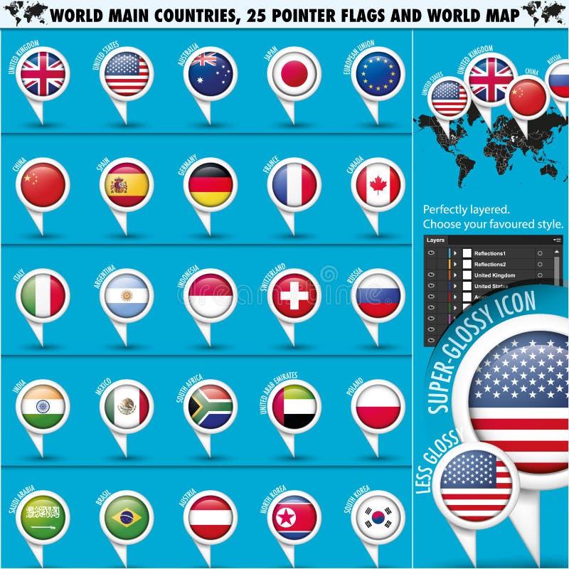 Il principale rotondo 25 del mondo delle bandiere del puntatore dichiara set1 illustrazione di stock