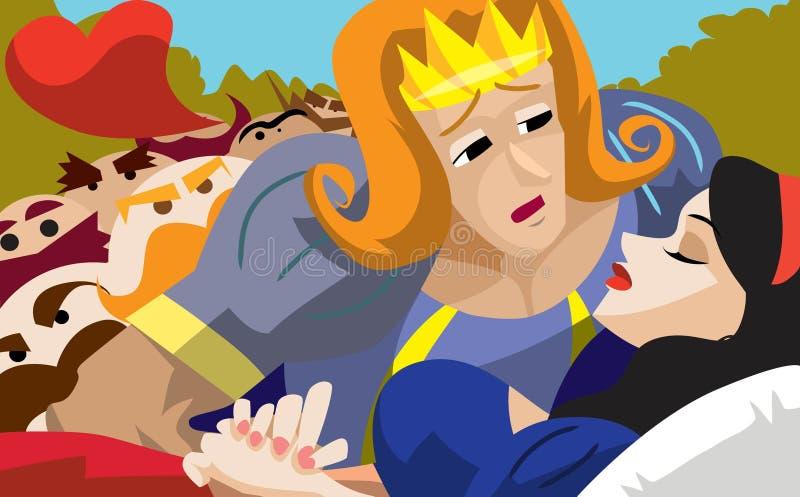 Il principe ed il bacio di vita illustrazione vettoriale