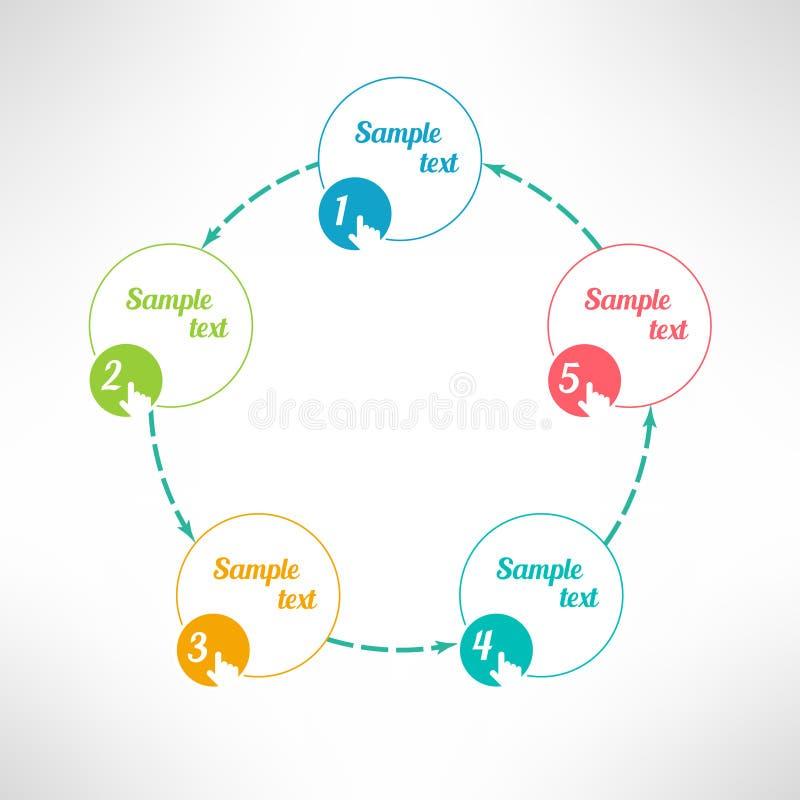 Il processo aziendale di vettore fa un passo elementi infographic illustrazione di stock