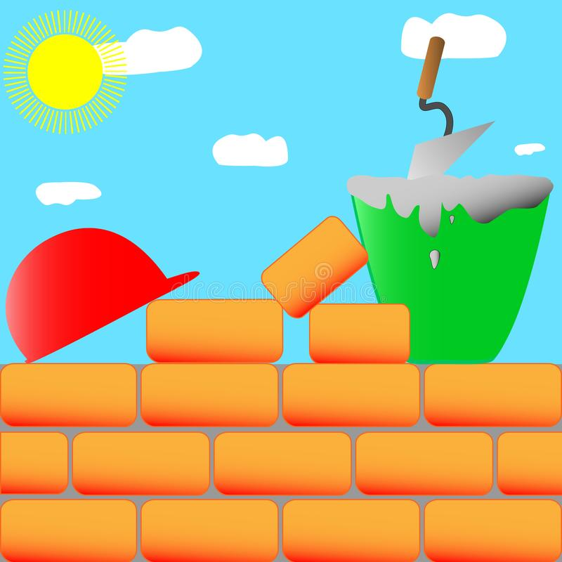 Il processo di costruzione della casa con mattoni a vista royalty illustrazione gratis
