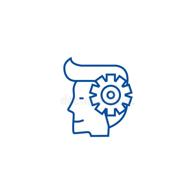 Il processo di mente, uomo con gli ingranaggi allinea il concetto dell'icona Processo di mente, uomo con il simbolo piano di vett illustrazione di stock